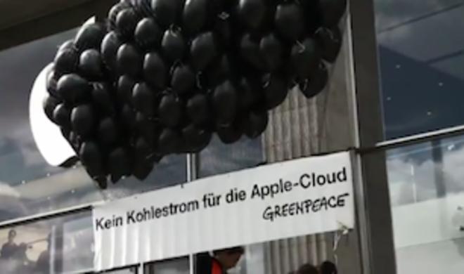 Apple Store in Hamburg: Greenpeace kämpft mit Luftballons gegen die iCloud