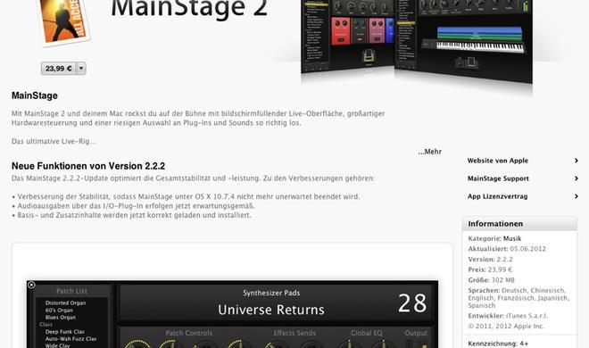 MainStage 2.2.2: Apple veröffentlicht Update via Mac App Store