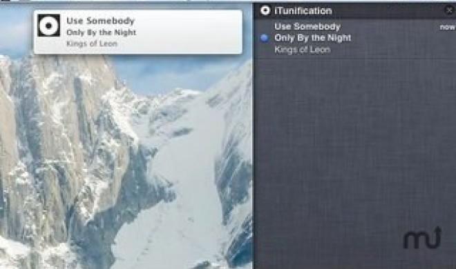 iTunification zeigt iTunes-Titel in der Mitteilungszentrale an