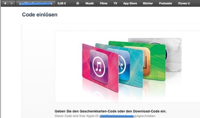 iTunes 11: iTunes-Guthabenkarten via Kamera einlösen