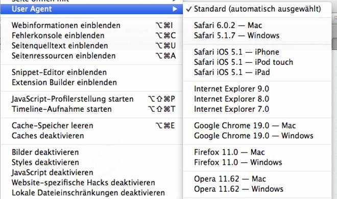 OS X: User Agent in Safari ändern