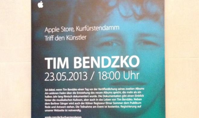 """""""Triff den Künstler"""": Tim Bendzko enthüllt neues Album im Apple Store am Kurfürstendamm"""