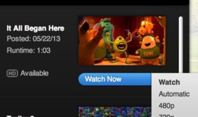 Keine Downloads mehr: Neue Filmclips auftrailers.apple.com nur noch als Stream verfügbar