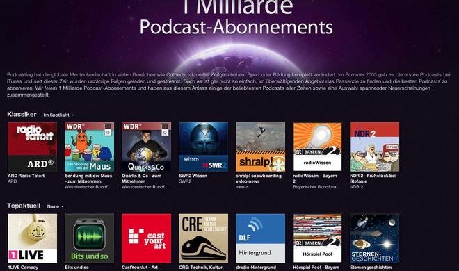 Apple feiert eine Milliarde abonnierter Podcasts