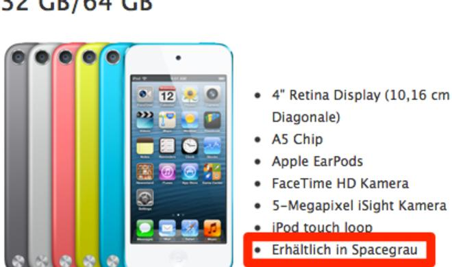 """""""Spacegrau"""": Apple bietet iPod touch, iPod nano und iPod shuffle in neuer Farbvariante an"""