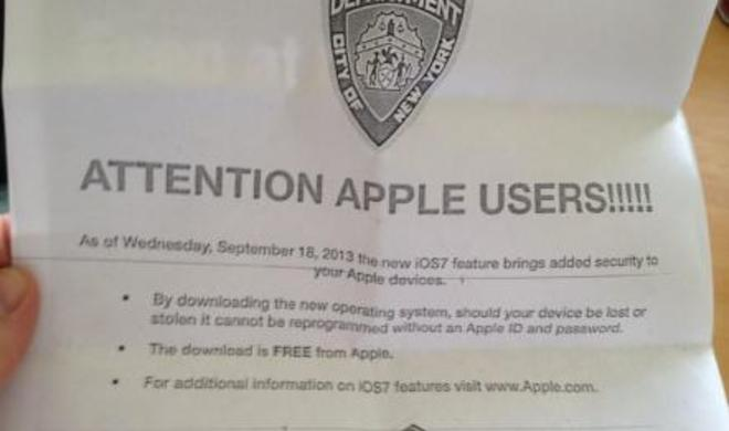 Aktivierungssperre: Polizei in New York wirbt via Flugblatt für iOS 7