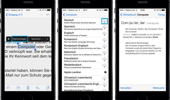 Kostenloses Nachschlagewerk: iOS 7.1 versteckt Gratis-Duden