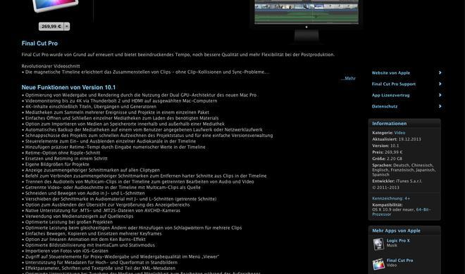Final Cut Pro X: Dank Update auf Version 10.1 kompatibel zu neuem Mac Pro und 4K-Content