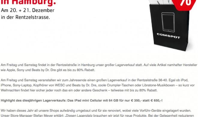 Lagerverkauf bei Comspot: Jede Menge Schnäppchen, beispielsweise iPad mini 64 GB Cellular für 350 Euro