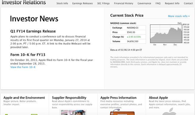 Apple Quartalszahlen Q1 2014: Bekanntgabe am 27. Januar
