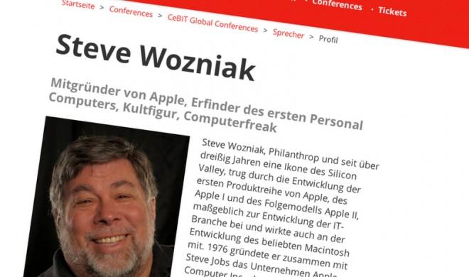 Apple-Mitbegründer Steve Wozniak spricht auf den CeBIT Global Conferences