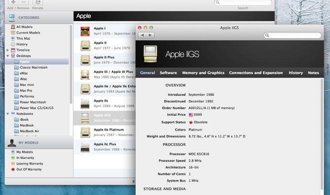 Apple-Produktdatenbank Mactracker nun auch mit Apple-Hardware vor dem Mac