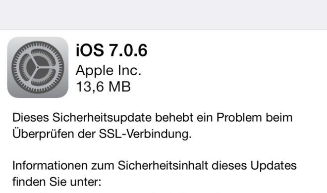 Apple veröffentlicht iOS 7.0.6, Apple TV 6.0.2 und iOS 6.1.6 mit SSL-Bugfix