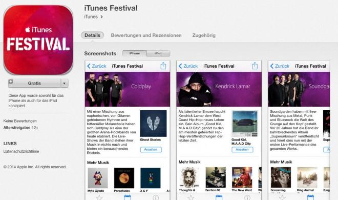 Apple veröffentlicht iTunes Festival App, iOS 7.1 wird nicht benötigt