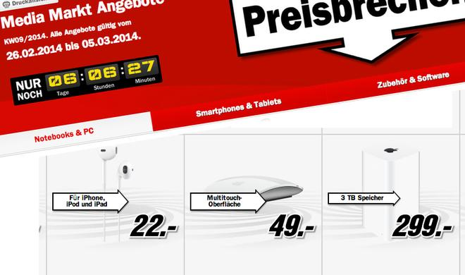 Media-Markt-Schnäppchen: 30 Euro Rabatt auf Apple TV, 20 Euro Preisnachlass auf Magic Mouse