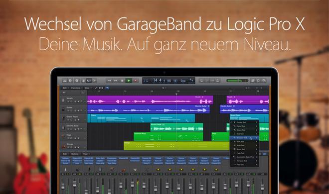 GarageBand vs. Logic Pro X: Apple wirbt für den Aufstieg in die Profiliga