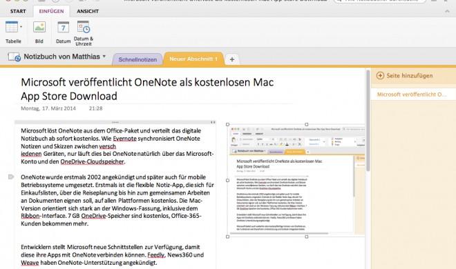 Microsoft veröffentlicht OneNote als kostenlosen Mac App Store Download
