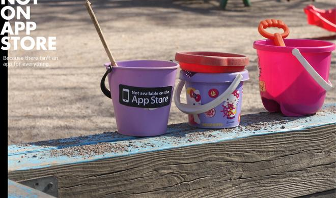"Netzfundstück: ""Not on App Store"", Medienkritik via Sticker-Kampagne"