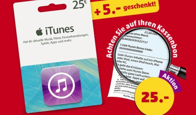 iTunes-Store-Geschenkkarten: 25 Euro bezahlen und für 30 Euro einkaufen