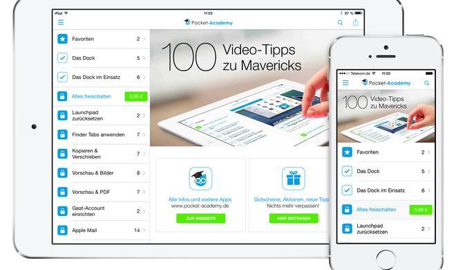 Pocket Academy App: Die 100 besten Video-Tipps zu OS X Mavericks jetzt zum Tiefpreis