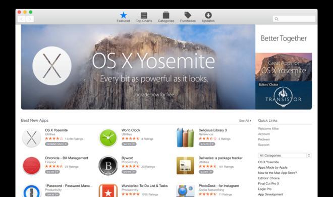 Mac App Store: Apple passt Design an OS X 10.10 Yosemite an
