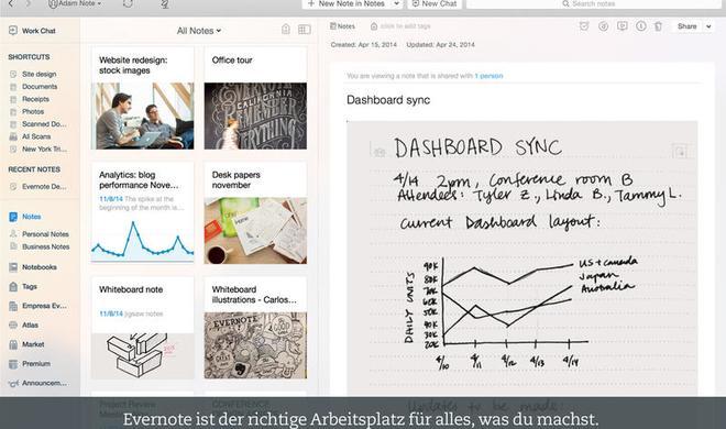 Notizzettel-App Evernote für den Mac runderneuert