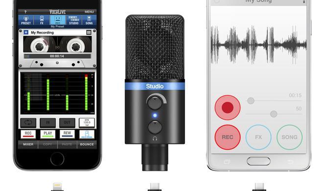Musiker-Zubehör für iPhone und iPad: iRig Power Bridge und iRig Mic Studio - Energielösung und ultra-portables Mikro