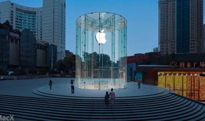 China-Expansion: Apple eröffnet neuen Apple Store in Chongqing - Glaszylinder erinnert an Glaswürfel in New York