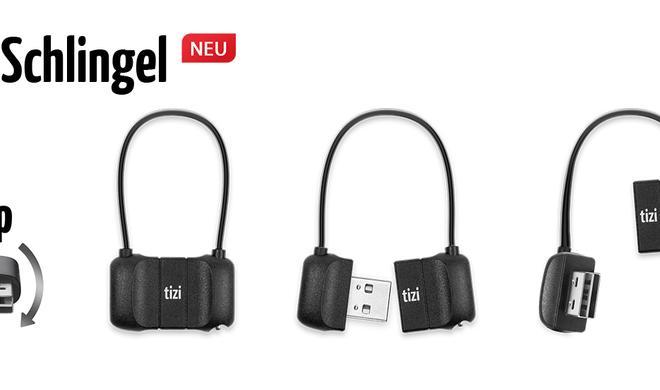 tizi Schlingel: USB-Lightning-Kabel mit Schlinge zum Befestigen an Schlüsselbund, Rucksack, Reise- oder Handtasche