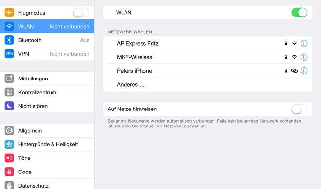iPad: Internetzugang mit iPhone als Router oder Modem