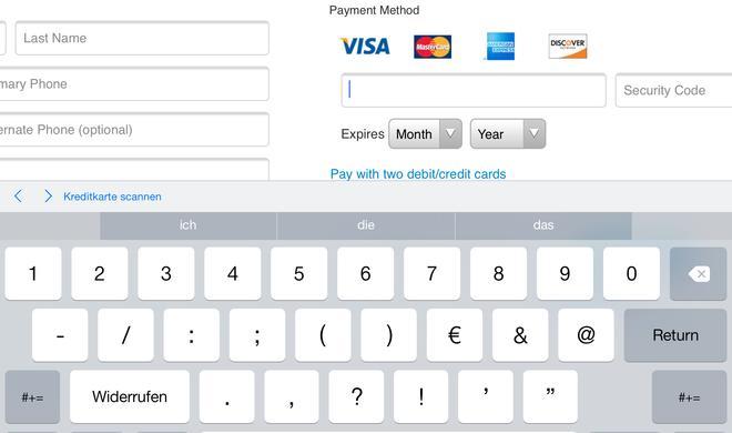 iPad: Kreditkarten-Daten einscannen und Daten schützen