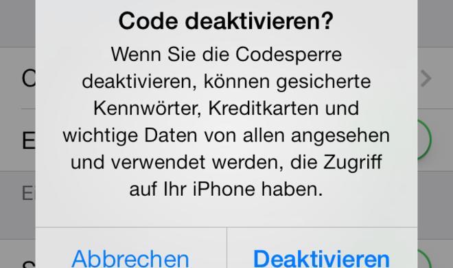 iPhone: Codesperre deaktivieren