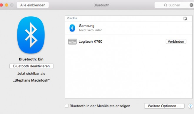 OS X Yosemite: Bluetooth-Gerät mit Mac verbinden