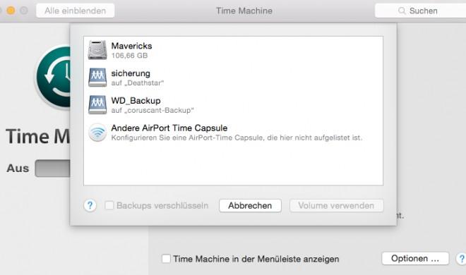OS X Yosemite: Time Machine-Backup einrichten
