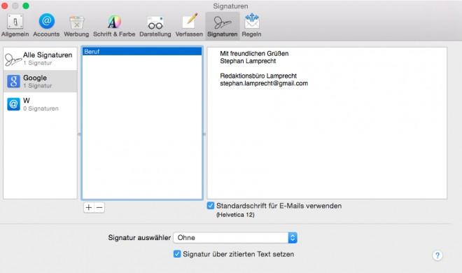 OS X Yosemite: E-Mail-Signatur einrichten