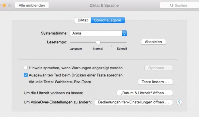 OS X Yosemite: Sprachausgabe aktivieren