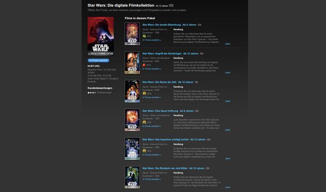 Star Wars: Alle sechs Filme nun auf iTunes zum Rabattpreis - Ersparnis von knapp 20 Prozent