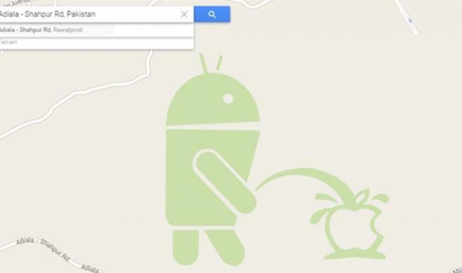 Entlarvt: So kam das auf das Apple Logo pinkelnde Android-Männchen auf Google Maps
