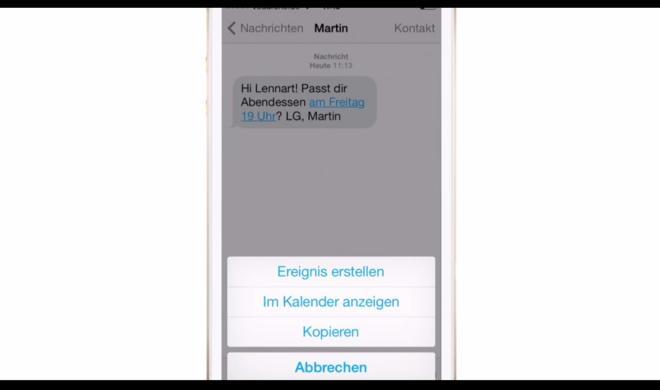 iOS 8 Video-Tipp: Kalendereintrag direkt aus Nachrichten erstellen – so geht's