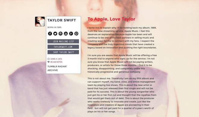 """Taylor Swift: Album """"1989"""" wird auf Apple Music zur Verfügung stehen"""