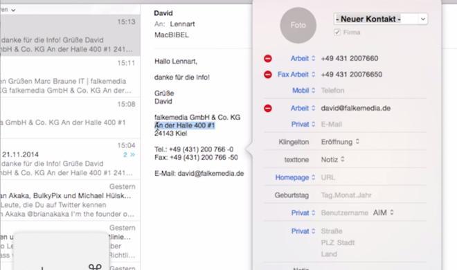 OS X 10.10 Yosemite Video-Tipp: Kontaktdaten aus E-Mail-Signatur automatisch in Kontakte-App einspeichern – so geht's