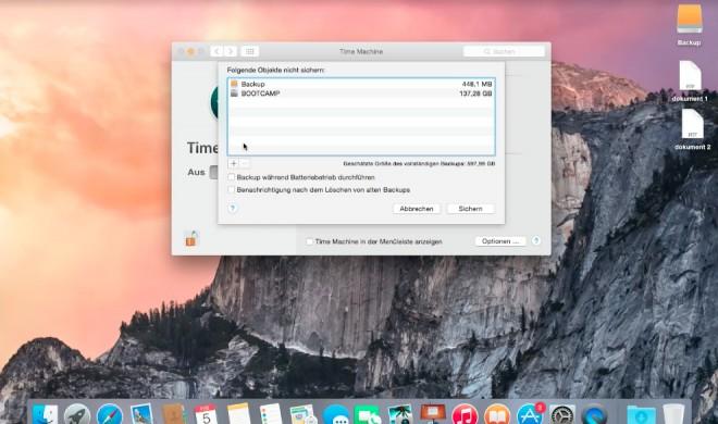 OS X 10.10 Yosemite Video-Tipp: Daten von Time Machine-Backup ausschließen und Speicherplatz sparen - so geht's