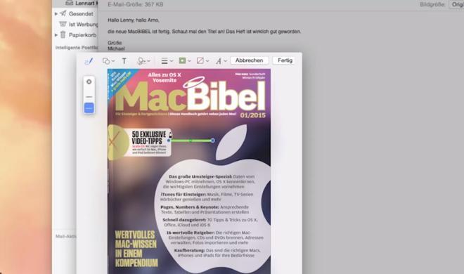 OS X 10.10 Yosemite Video-Tipp: E-Mail-Anhänge direkt in Mail bearbeiten – so geht's