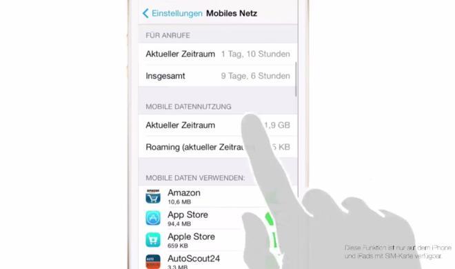 iOS 8 Video-Tipp: Datenverbrauch pro App kontrollieren – so geht's