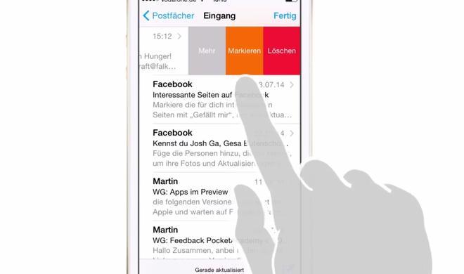 iOS 8 Video-Tipp: E-Mails mit Wischgeste markieren – so geht's