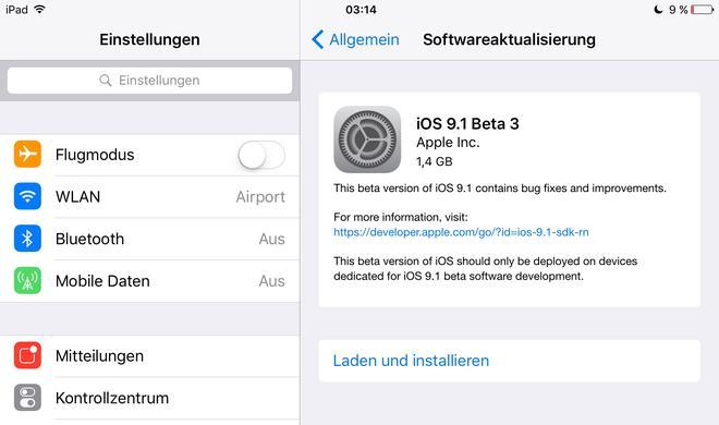 iOS 9.1 Beta 3: Neue Versionen für Entwickler und Public Beta Teilnehmer