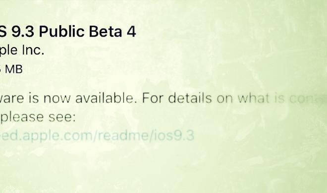 Apple veröffentlicht öffentliche Beta 4  von iOS 9.3