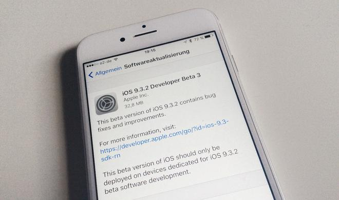 Einsame Vorhut: Apple schickt iOS 9.3.2 Beta 3 alleine ins Rennen