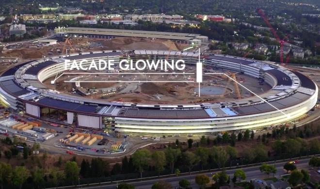 Apple Campus 2 erwacht im Dunkeln zum Leben