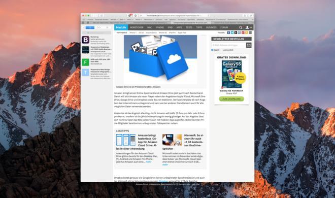 macOS Sierra: Safari 10 bietet eine überarbeitete Seitenleiste